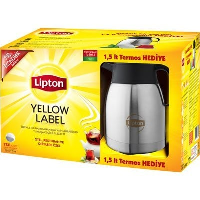 Lipton Yellow Label Demlik Poşet Çay 750'li + 1,5 lt Termos Hediye -